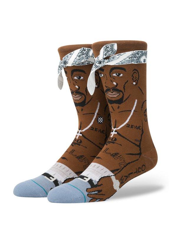Tupac Socks Brown/Black | STANCE