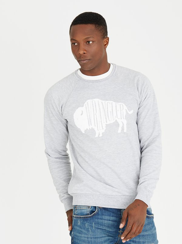 Wrangler Branded Bison Sweatshirt Grey Melange