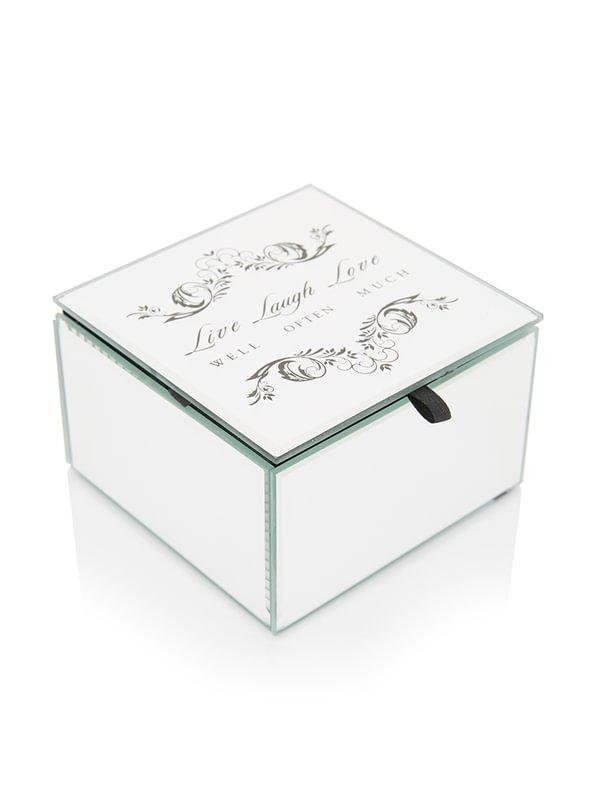Treasury Live Laugh Love Mirror Box Silver B4938zq Spree