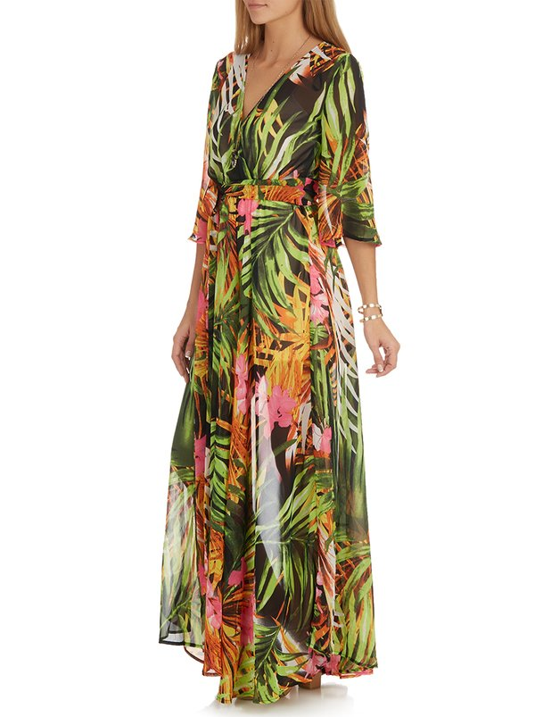 G Couture Tropical Print Maxi Dress Green 3vf5263 Spree