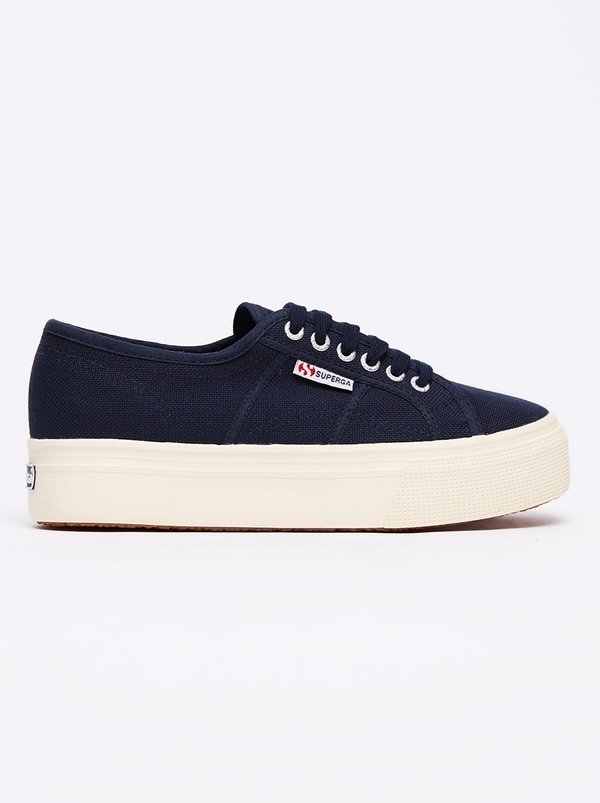 Superga Classic Canvas Wedge Sneakers Navy