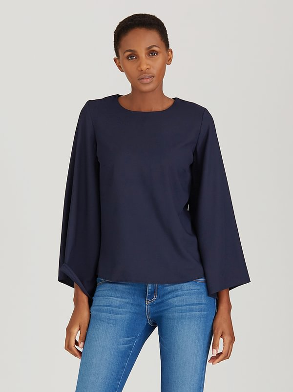 c(inch) Bell Sleeve Blouse Navy