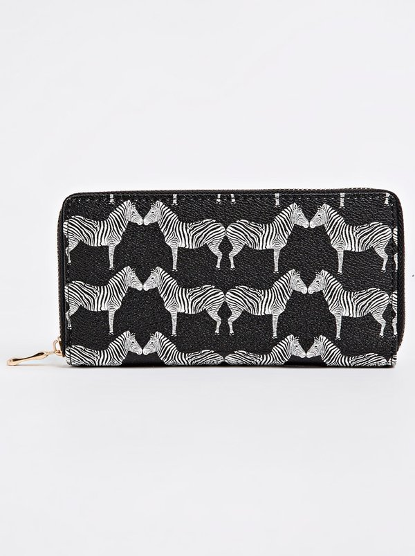 STYLE REPUBLIC Zebra Print Zip-around Purse Black and White
