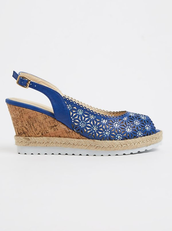 Queenspark Punch-out Slingback Wedges Navy