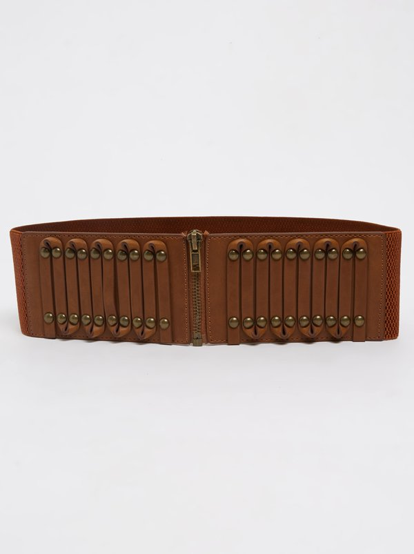 STYLE REPUBLIC Studded Waist Belt Tan