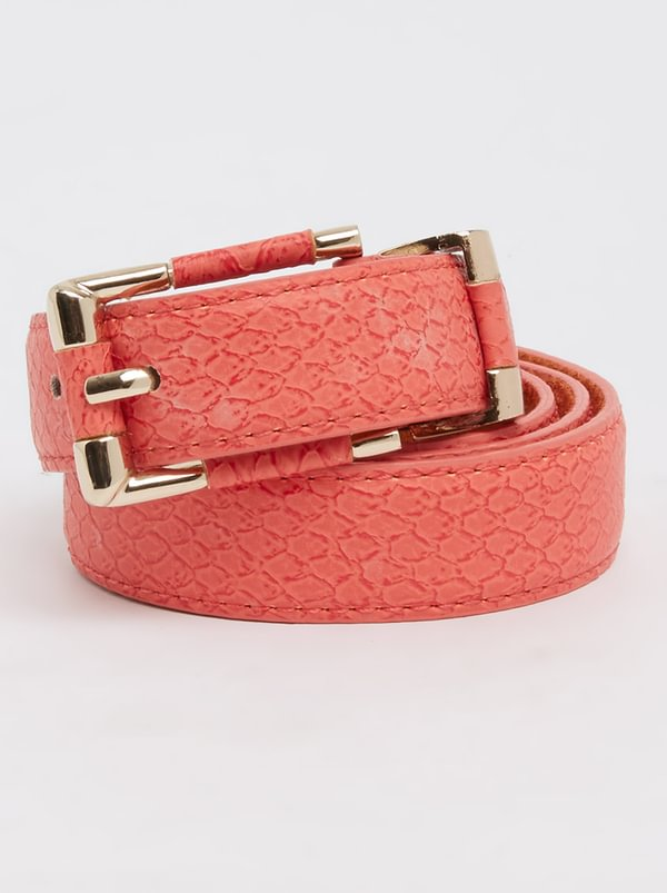 edit Croc Effect Skinny Belt Red