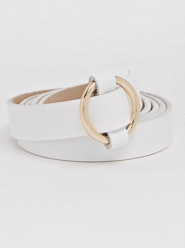 Joy Collectables Leather Loop Belt White
