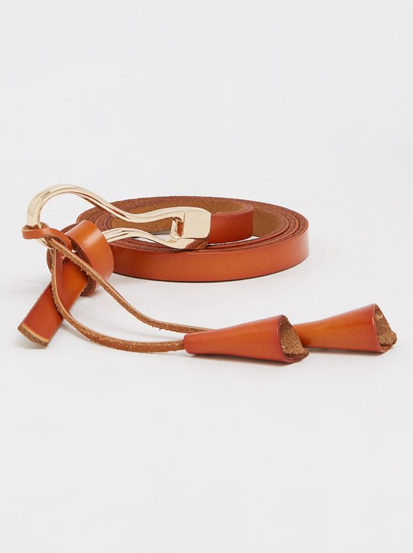 Joy Collectables Leather Skinny Belt Tan