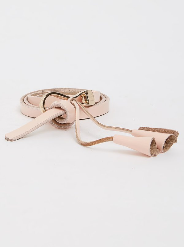 Joy Collectables Leather Skinny Belt Pale Pink