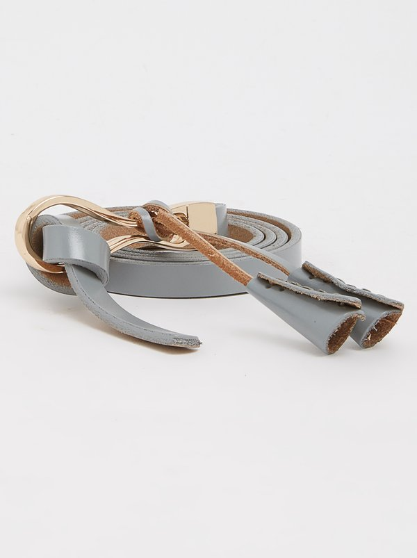 Joy Collectables Leather Skinny Belt Grey