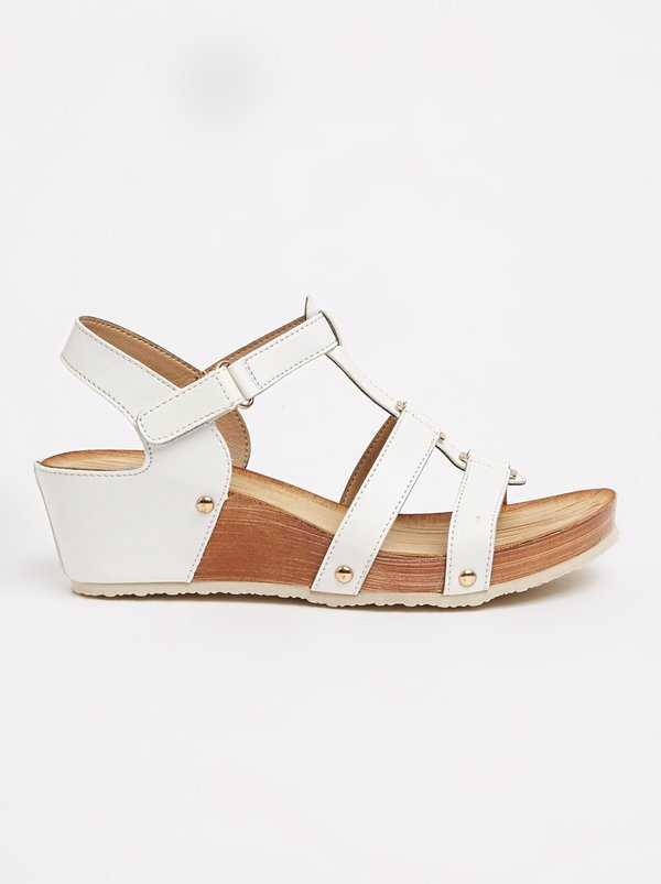 Butterfly Feet Norma Strappy Wedges White