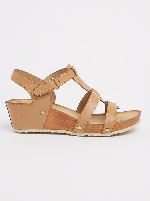 Butterfly Feet Norma Strappy Wedges Beige