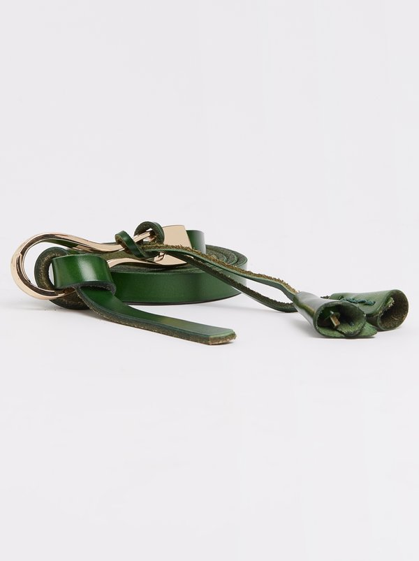 Joy Collectables Leather Skinny Belt Mid Green