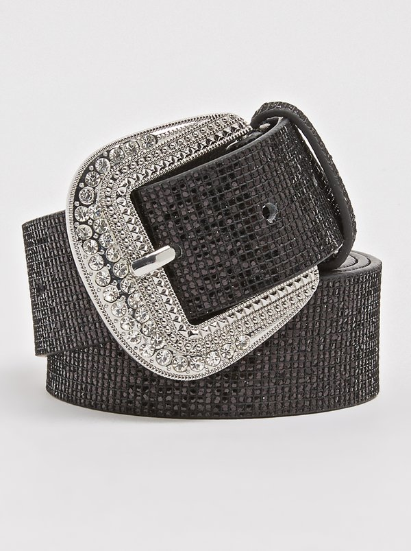 Queenspark Classic Lurex Belt Black
