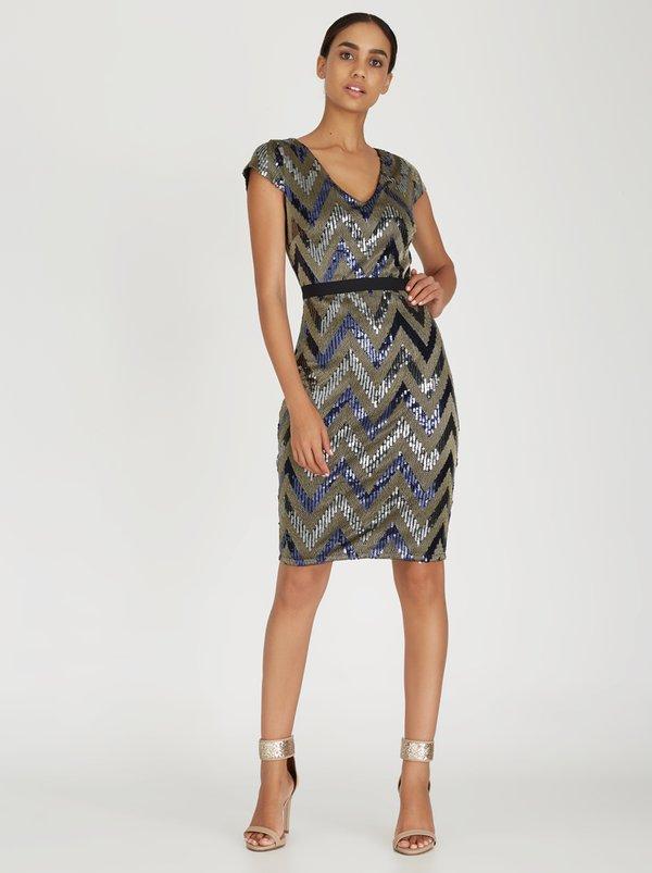 Womens Zig Zag Shimmer Sequin Dress Paper Dolls Awtis