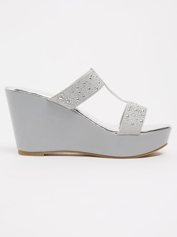Queenspark Studded T-bar Wedges Grey