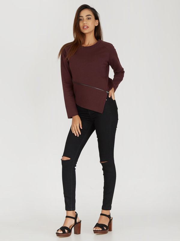 ONLY Whipper Asymmetrical Zip Detail Sweater Dark Red