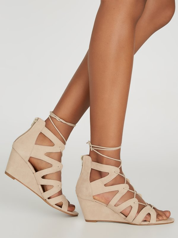 London Rag Lace-up Wedges Neutral