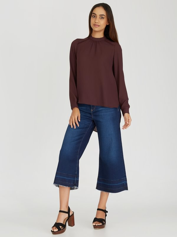ONLY Mocca Long Sleeve Double Layer Blouse Dark Red