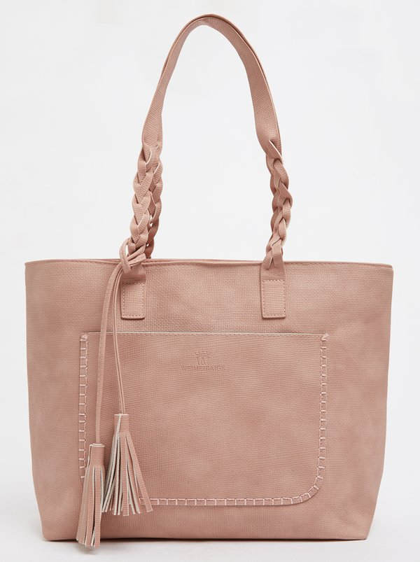 STYLE REPUBLIC Tote Bag with Plaited Detail Pale Pink