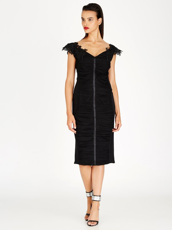 Gert-Johan Coetzee Ruched Tulle Bodycon Dress Black