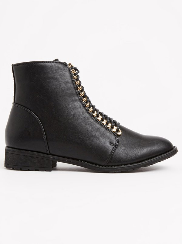 Boohoo Maria Chain Detail Hiker Boot Black