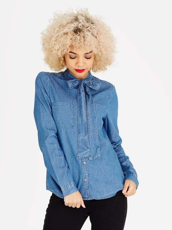 ONLY Bow Detail Denim Shirt Mid Blue