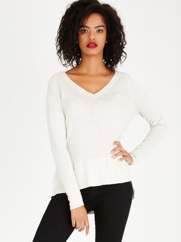 ONLY Philu Long Sleeve V-neck Pullover Stone