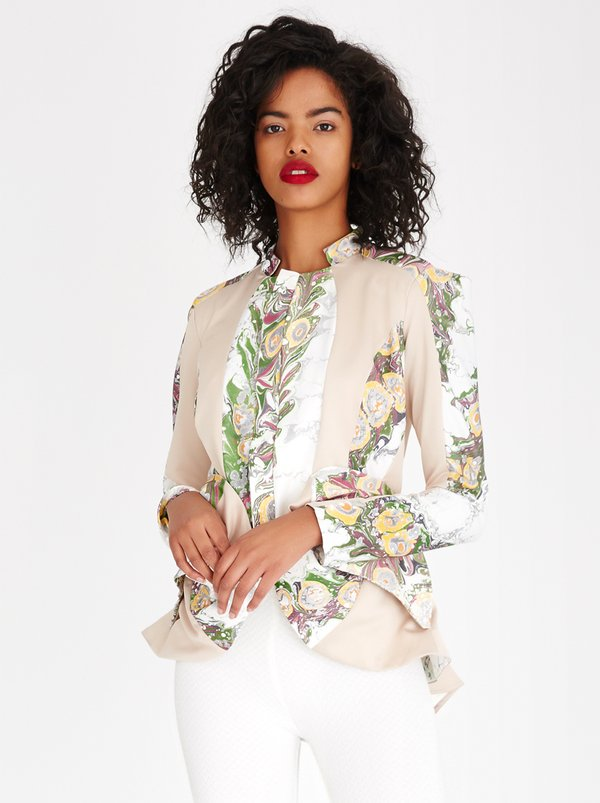 Judith Atelier Marbled Panelled Flared Lined Jacket Milk