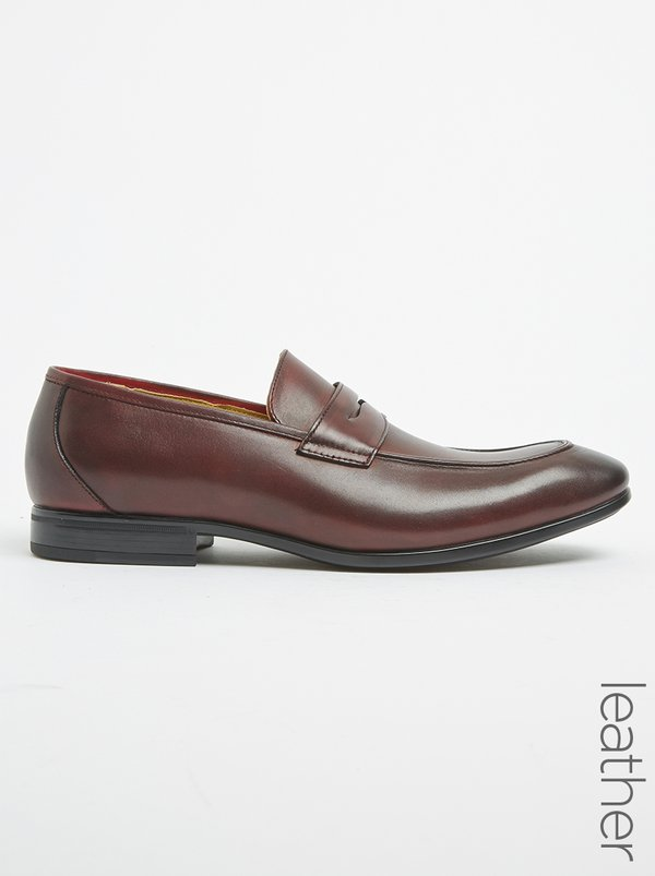 Steptronic Men's Formal Shoes Troy Leather Penny Loafers Burgundy