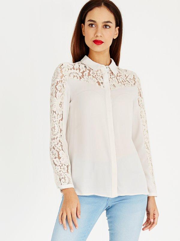 ONLY Star Long Sleeve Lace Shirt Stone