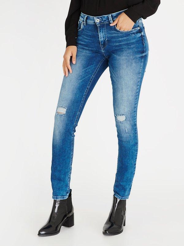 Only Longer Length Carmen Ripped Skinny Jeans Dark Blue