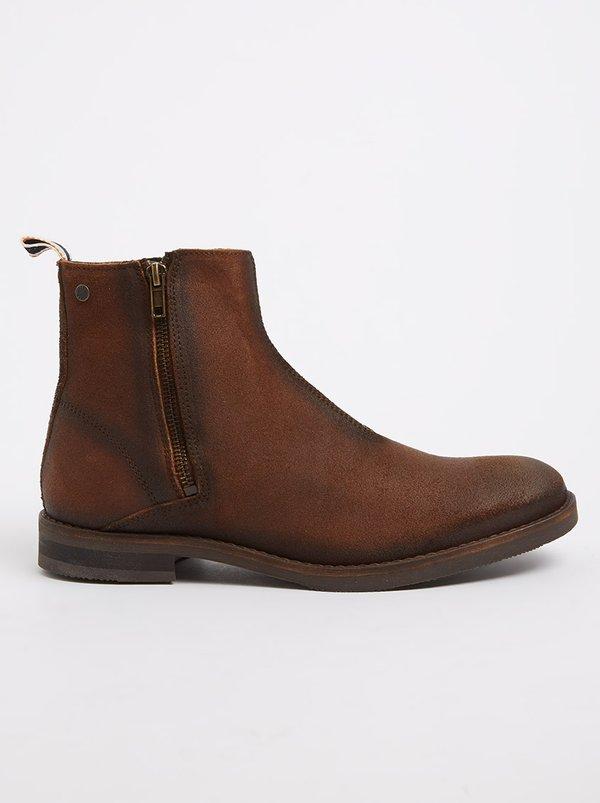 JACK & JONES Zippy Waxed Suede Boots Mid Brown