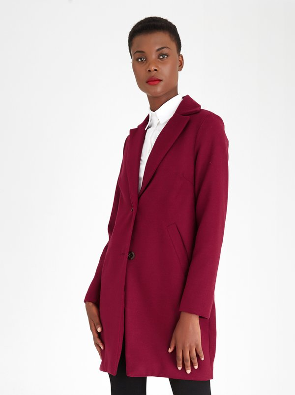 edit Classic Melton Coat Burgundy