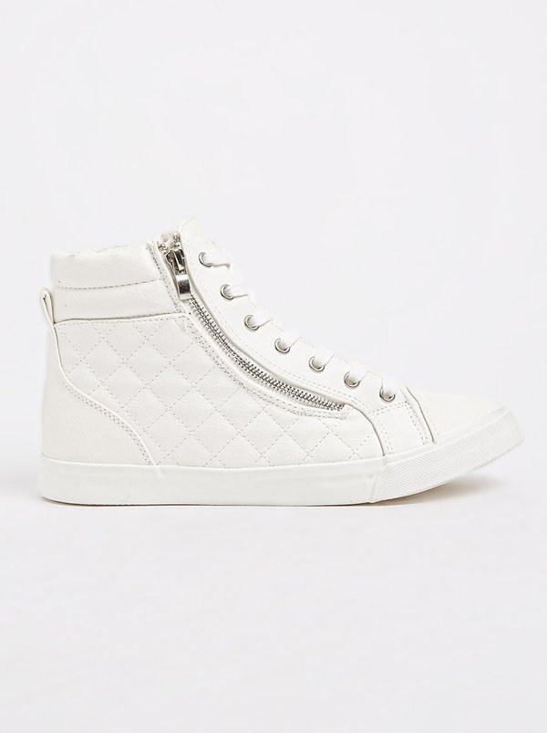 Queue High-top Sneakers with Quilt Detail White