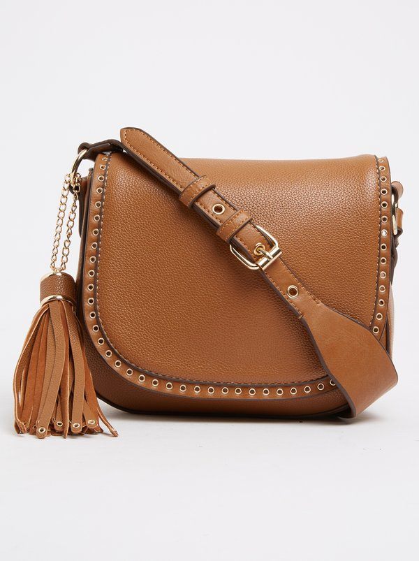 Queue Cross-body Bag with Tassel Trim Tan