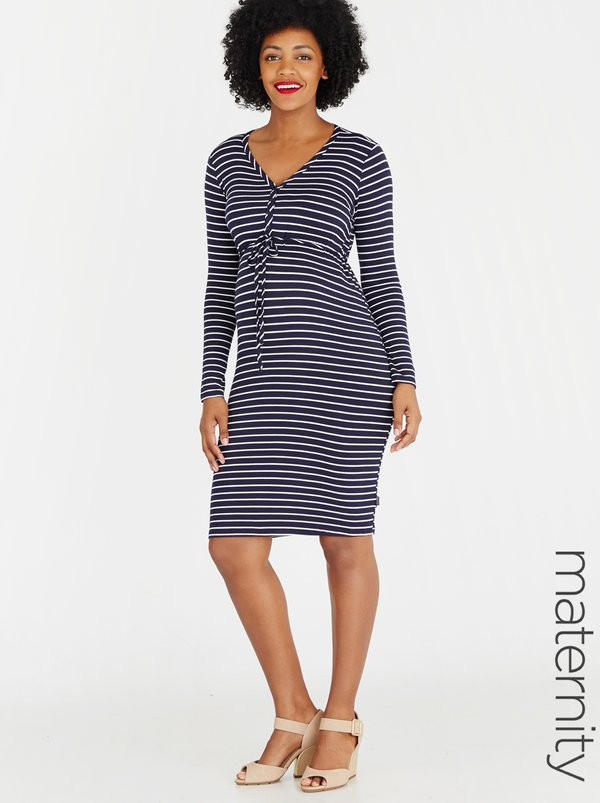 Cherry Melon Striped Henley Dress Multi-colour