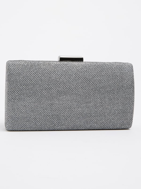 Queue Hard Glitter Clutch Bag Silver