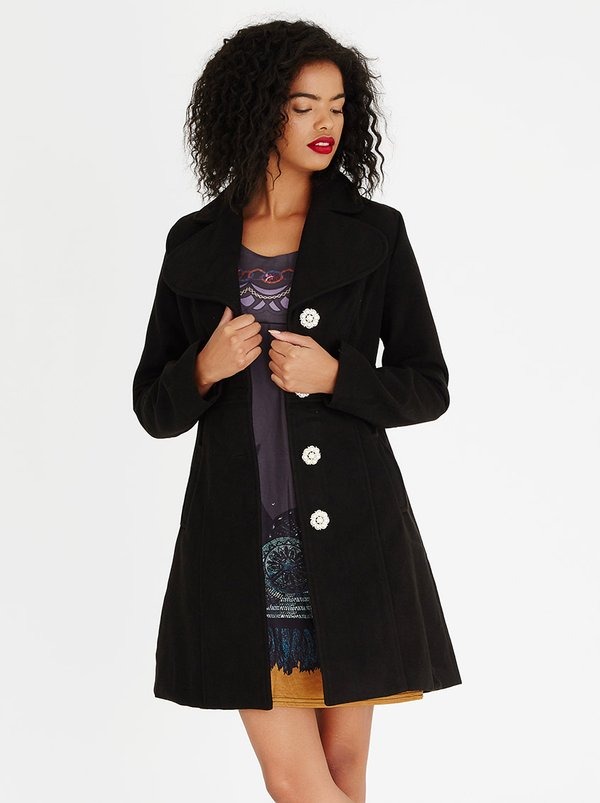 Revenge Wool-like Peacoat Black