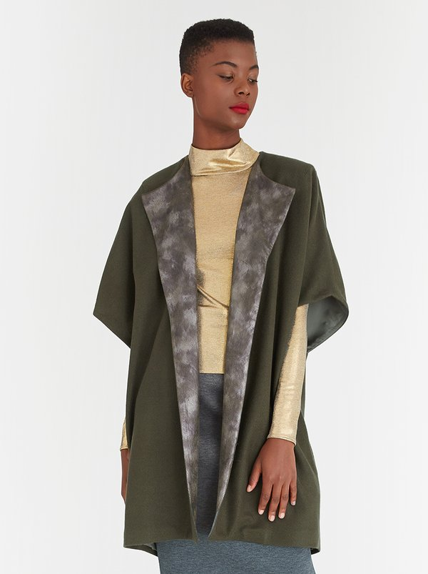 DAVID by David Tlale Wool-blend Modular Coat Khaki Green