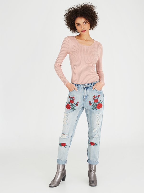 ONLY Tonni Embroidered Ripped Boyfriend Jeans Mid Blue