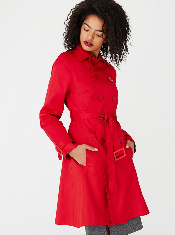 edit Classic Trench Coat Red