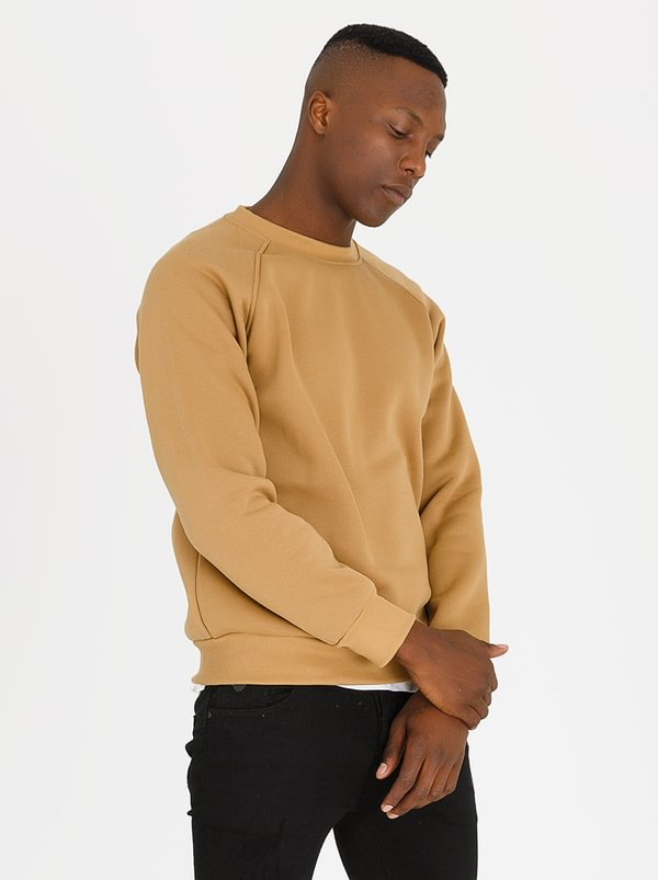 Plain Over Crew Sweatshirt Camel | STYLE REPUBLIC