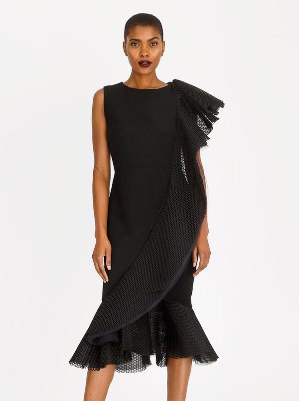 Shoulder Cascade Dress Black | Gert-Johan Coetzee