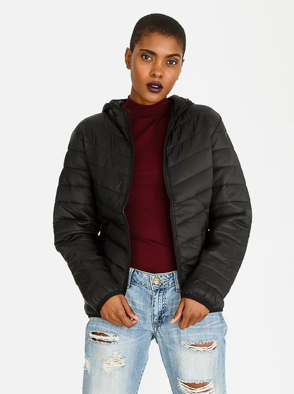 Essential Hooded Puffer Jacket Black | STYLE REPUBLIC