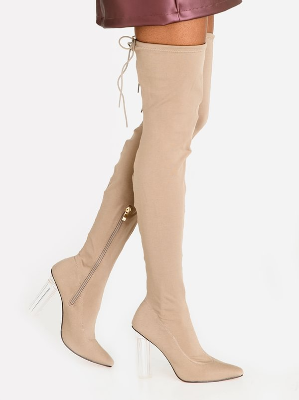Dolce Vita Sorrento Block Heeled Thigh High Boots Taupe
