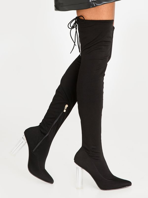 Dolce Vita Sorrento Block Heeled Thigh High Boots Black