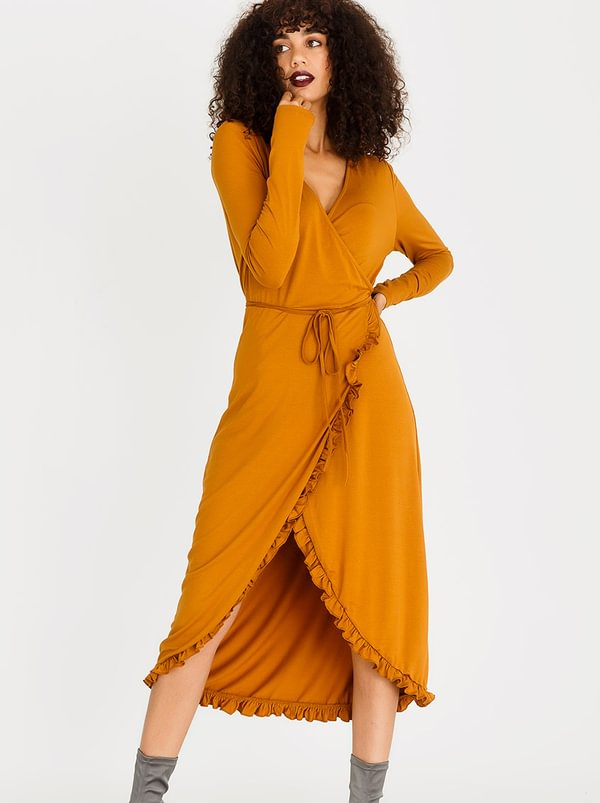 Wrap Dress Rust | G.COUTURE