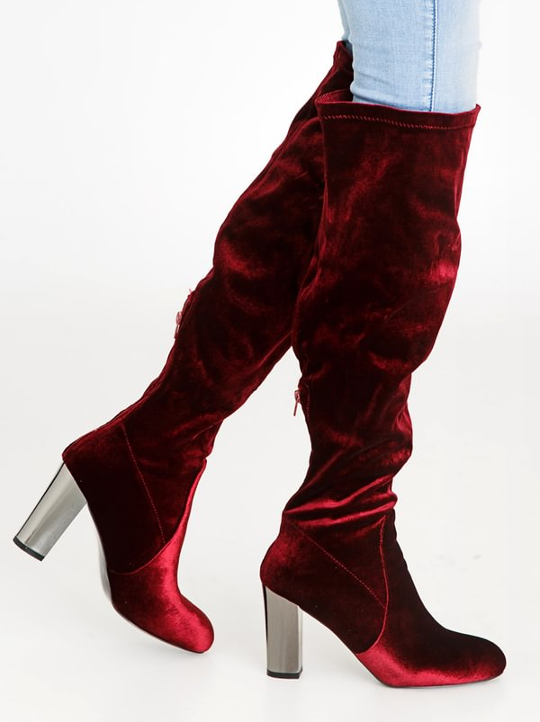 free shipping brand new unisex Wild Alice by Queue Wild Alice by Queue Long Over The Knee Velour Boots Burgundy outlet excellent free shipping sale websites sale online high quality online UJZFzHQgOT