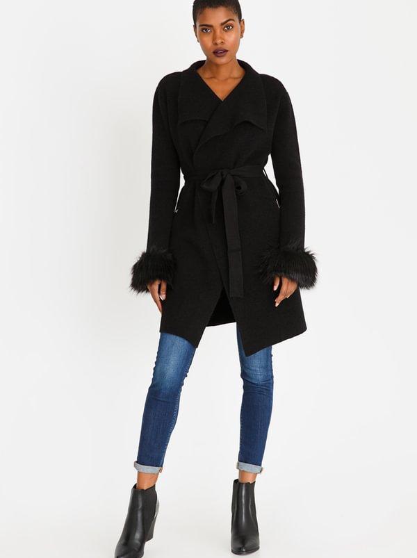 Sienna Faux Fur Coat Black | SISSY BOY